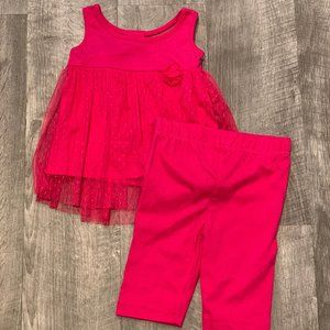 Other - 4/$25 Infant Bright Pink Skirt Over Top w/Pants